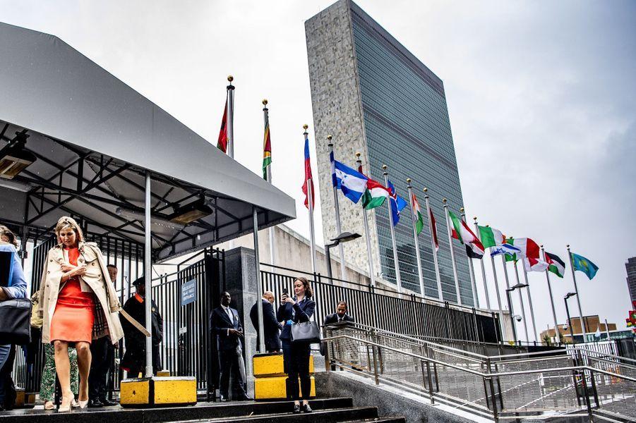 La reine Maxima des Pays-Bas quitte le siège des Nations unies à New York, le 25 septembre 2018