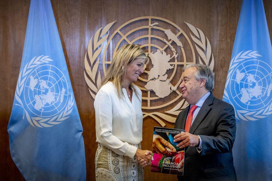 La reine Maxima des Pays-Bas avec le secrétaire général des Nations unies Antonio Guterres à New York, le 26 septembre 2018