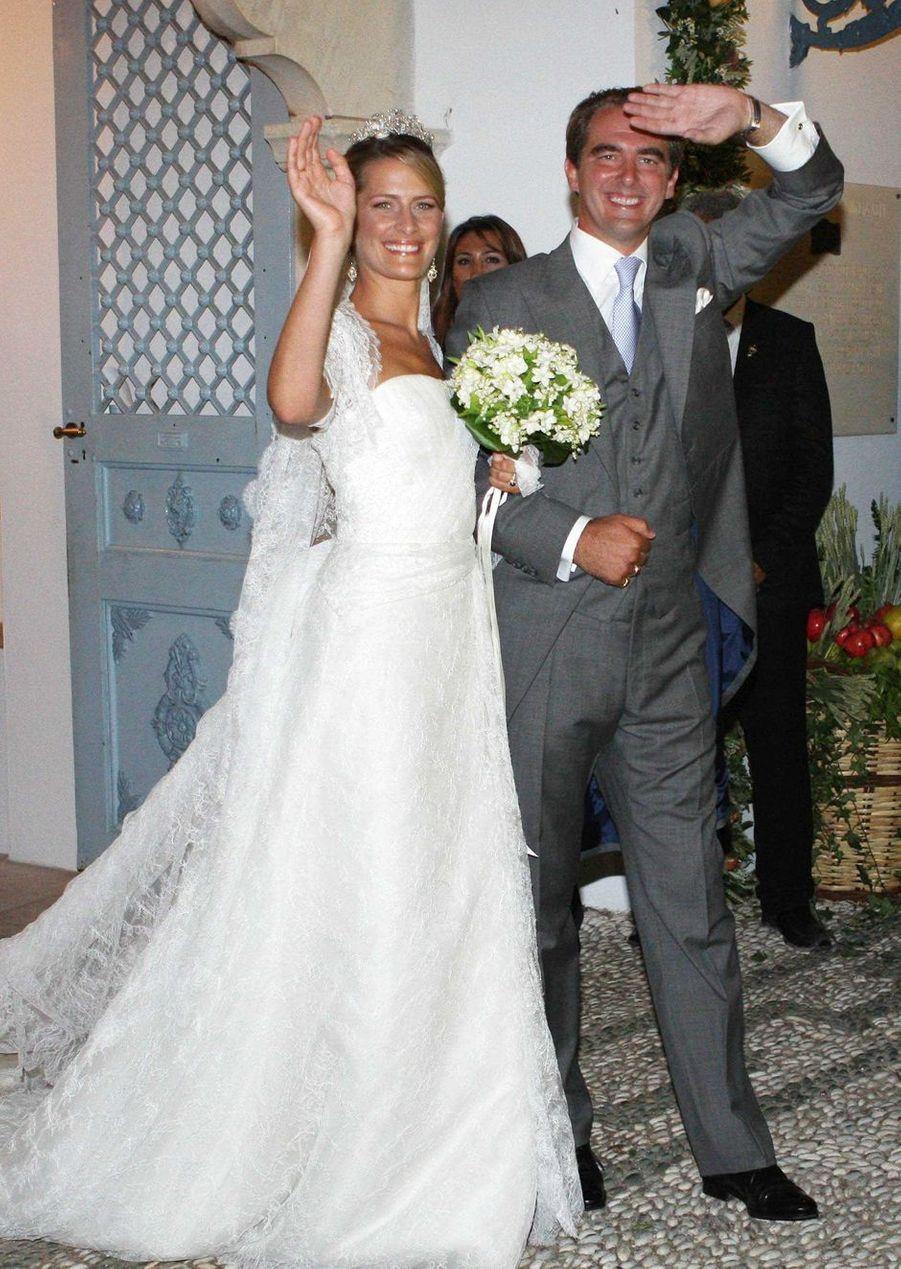 Les mariés, le prince Nikolaos de Grèce et Tatiana Blatnik sur l'île de Spetses, le 25 août 2010