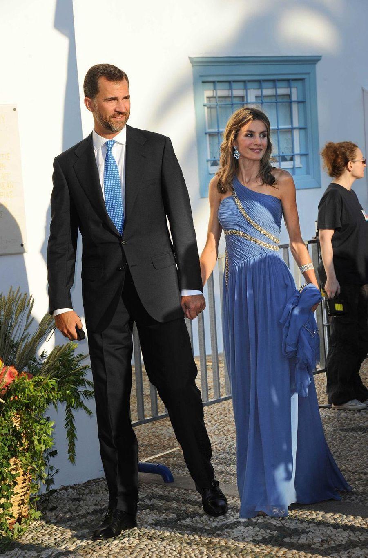 La princesse Letizia et le prince Felipe d'Espagne sur l'île de Spetses, le 25 août 2010