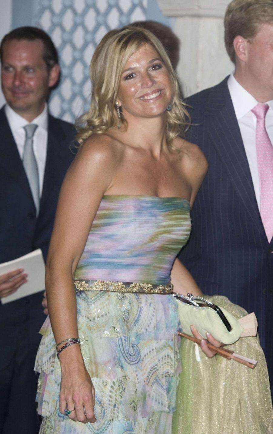 La princesse Maxima des Pays-Bas sur l'île de Spetses, le 25 août 2010