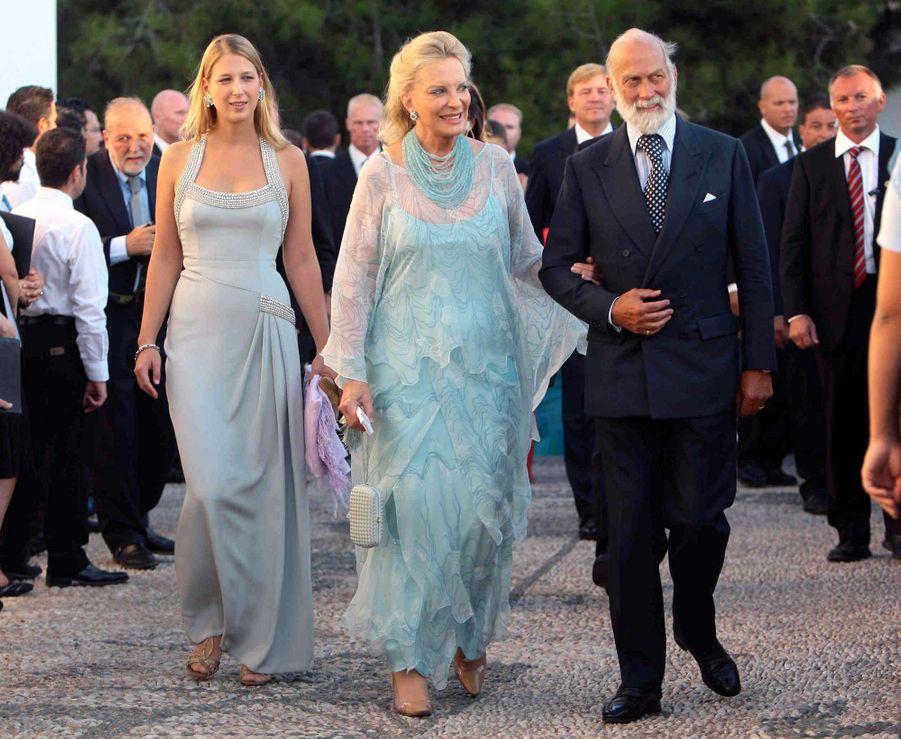 Le prince Mikael de Kent avec sa femme Marie-Christine et leur fille Lady Gabriella sur l'île de Spetses, le 25 août 2010