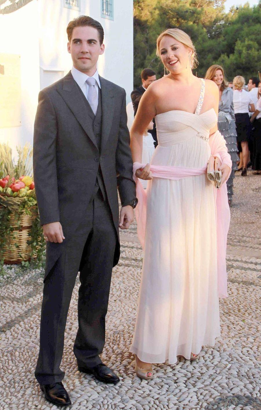 Le prince Philippos et la princesse Theodora de Grèce, frère et soeur du marié, sur l'île de Spetses, le 25 août 2010