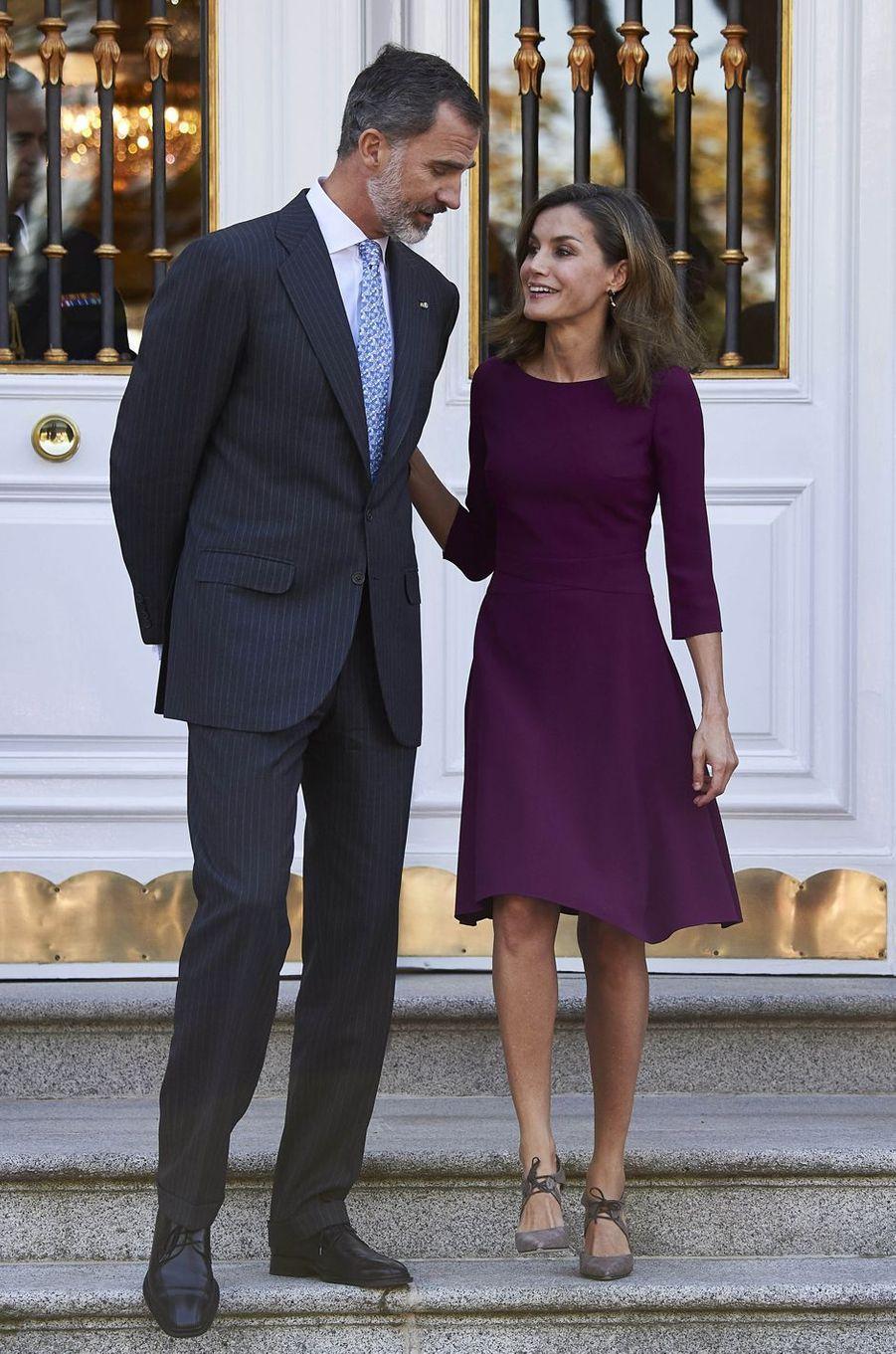 La reine Letizia et le roi Felipe d'Espagne le 6 novembre 2017