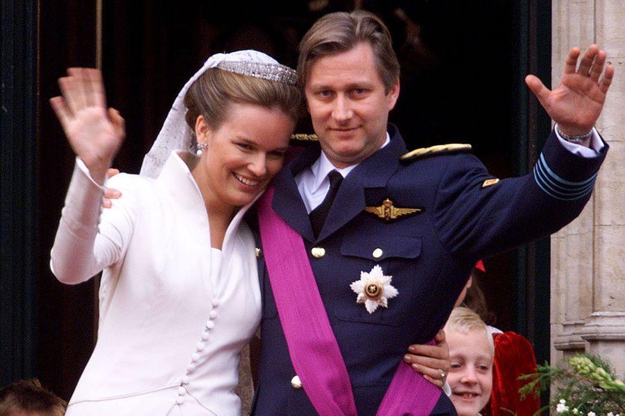 Le prince Philippe de Belgique épouse Mathilde d'Udekem d'Aroz le 4 décembre 1999