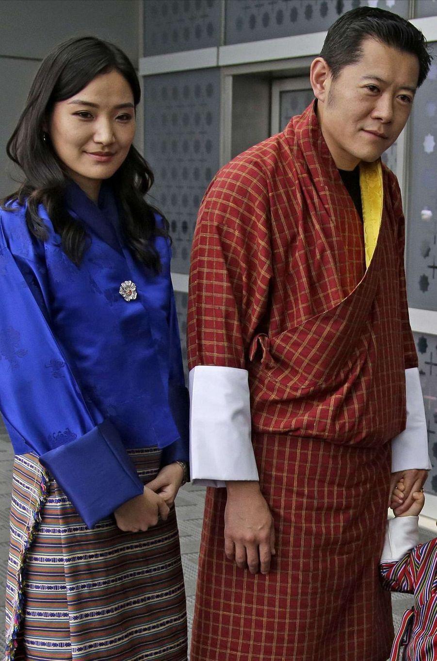 La reine Jestun Pema et le roi du Bhoutan Jigme Khesar Namgyel Wangchuck le 31 octobre 2017