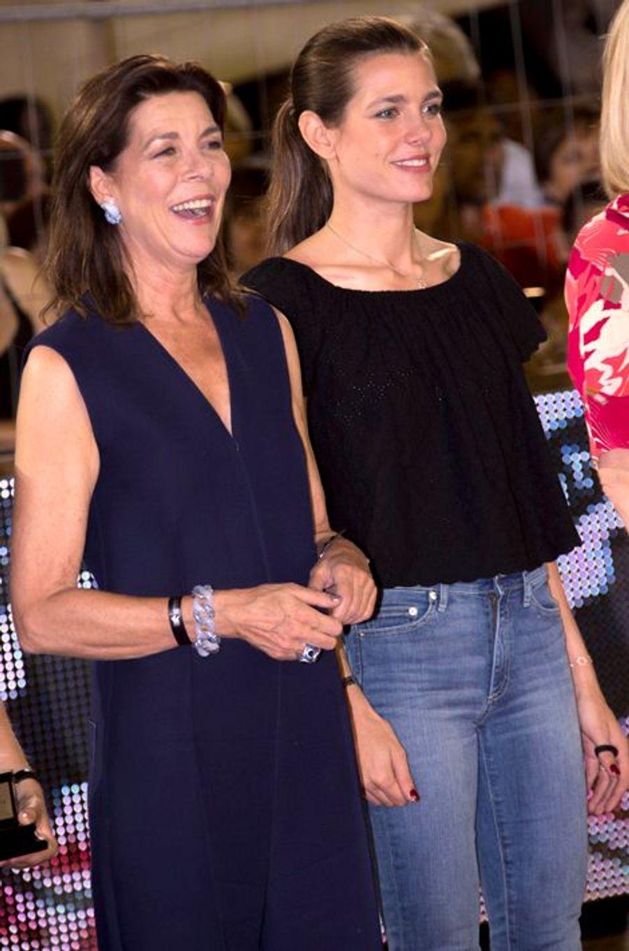 La princesse Caroline de Hanovre et Charlotte Casiraghi, le27 juin 2015