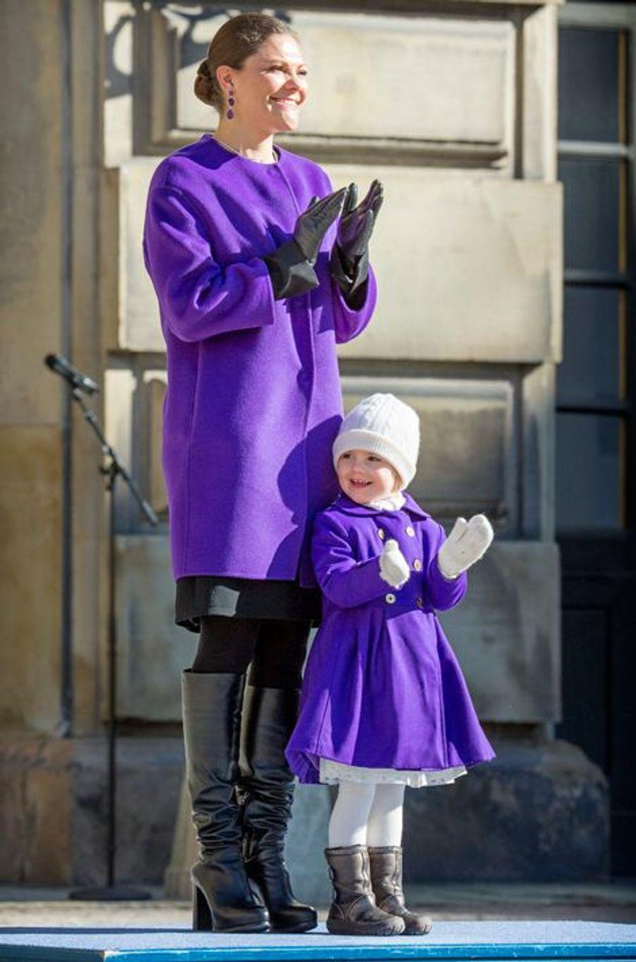 La princesse Victoria et la princesse Estelle de Suède, le 12 mars 2015