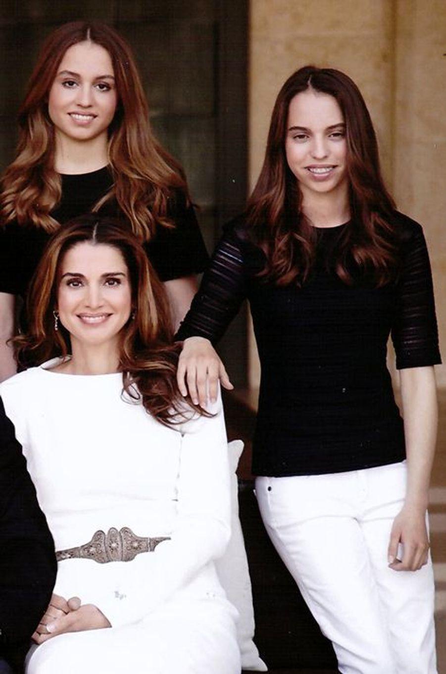 La reine Rania de Jordanie et les princesses Iman et Salma, le 21 décembre 2014