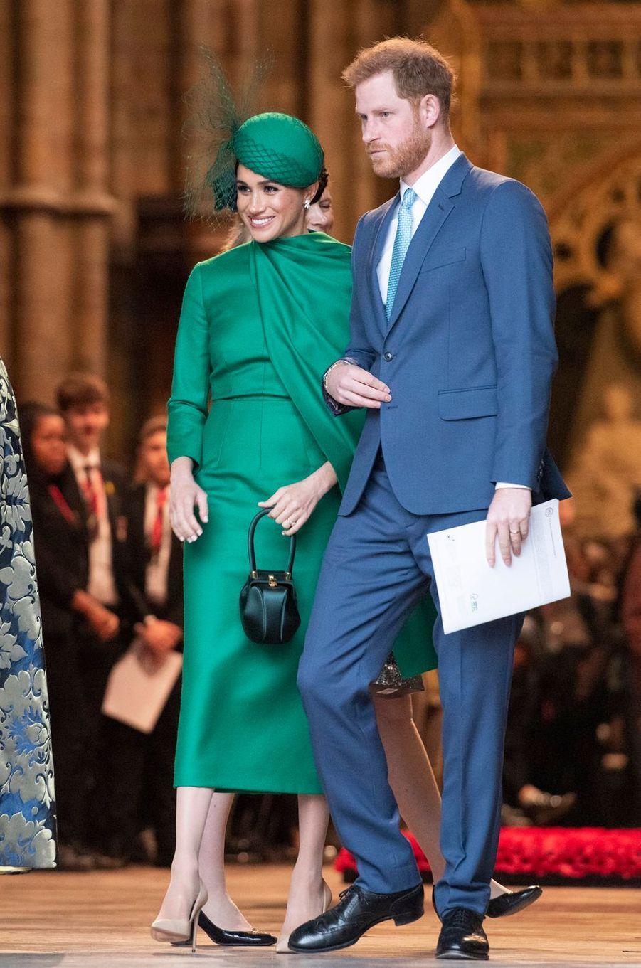 Meghan Markle et le prince Harry à Londres, le 9 mars 2020, lors de leur dernier engagement avec la famille royale britannique
