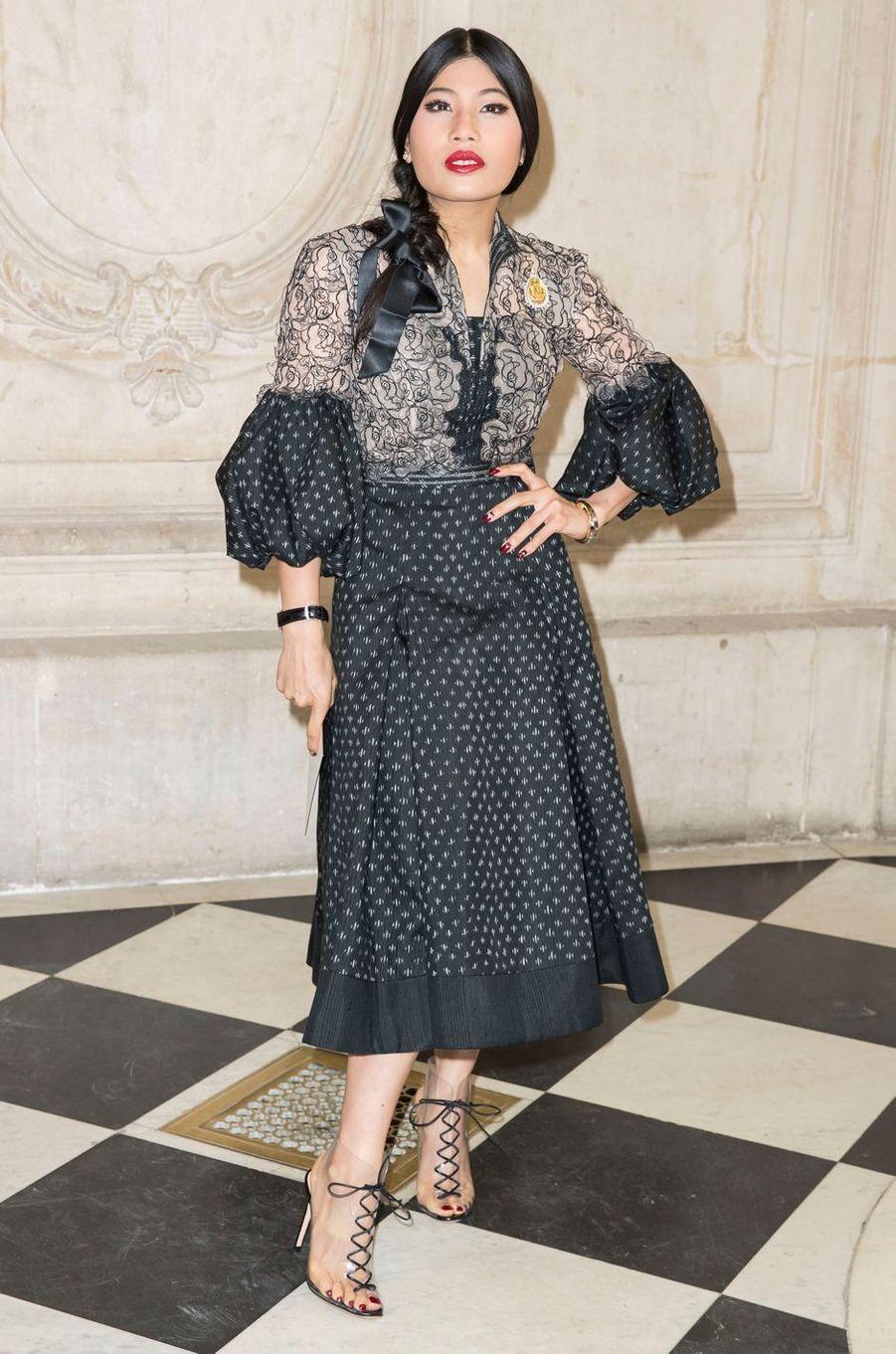La princesse Sirivannavari Nariratana de Thaïlande au défilé Christian Dior à Paris, le 26 septembre 2017