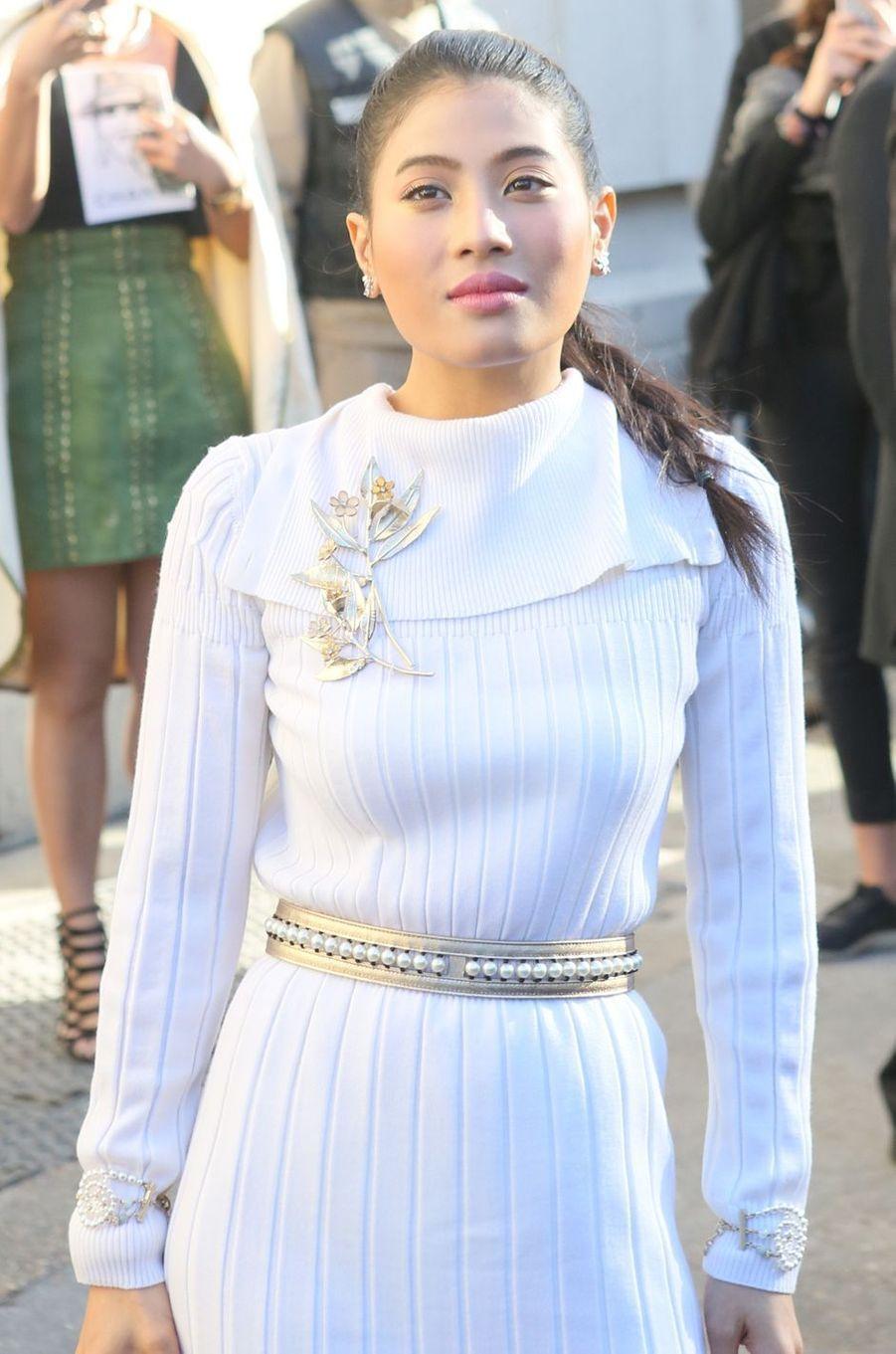 La princesse Sirivannavari Nariratana de Thaïlande au défilé Chanel à Paris, le 3 octobre 2017