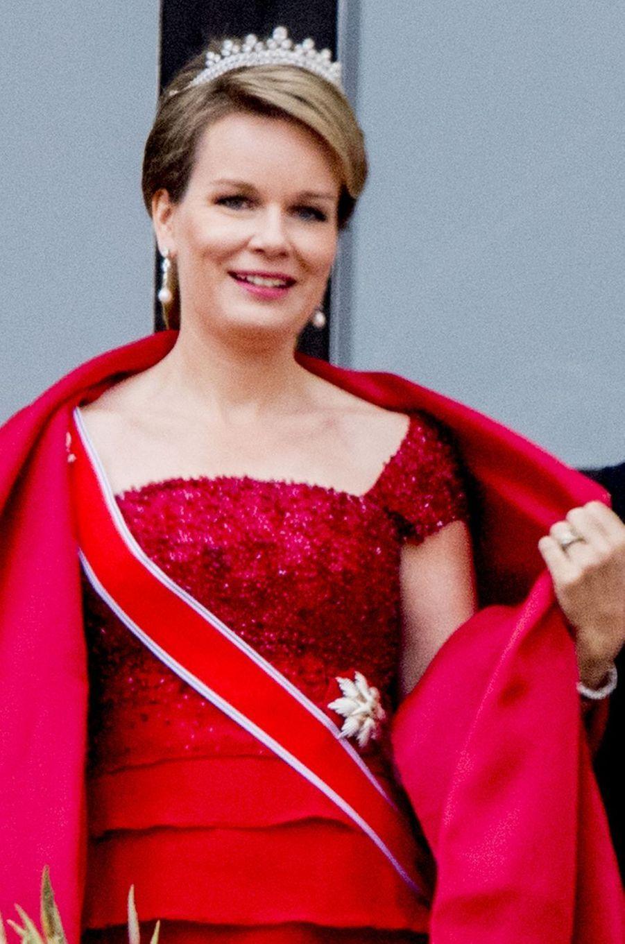 Le diadème de lareine Mathilde de Belgique à Oslo le 9 mai 2017