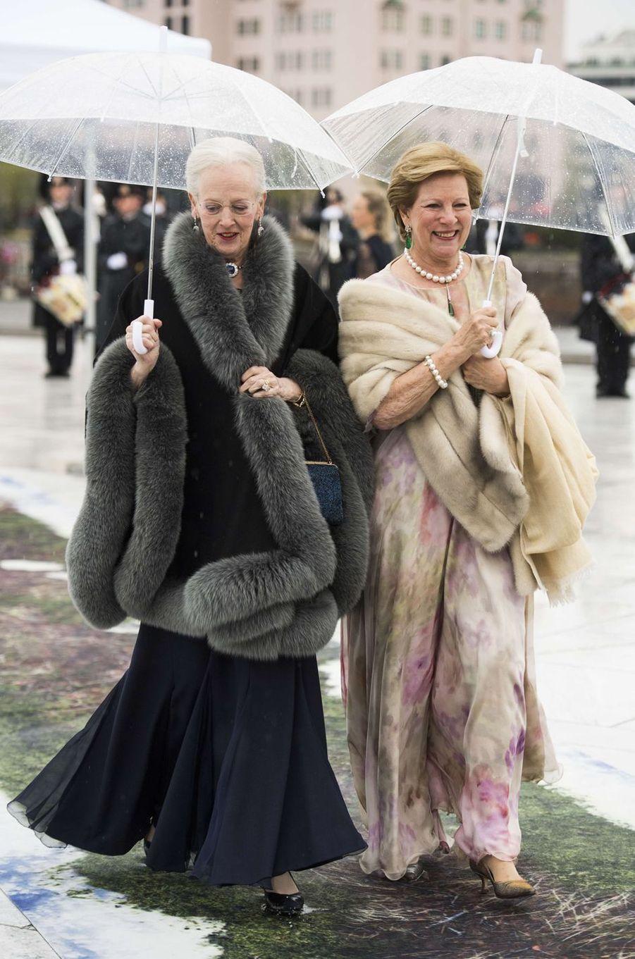 La reine Margrethe II de Danemark et l'ex-reine Anne-Marie de Grèce à Oslo le 10 mai 2017
