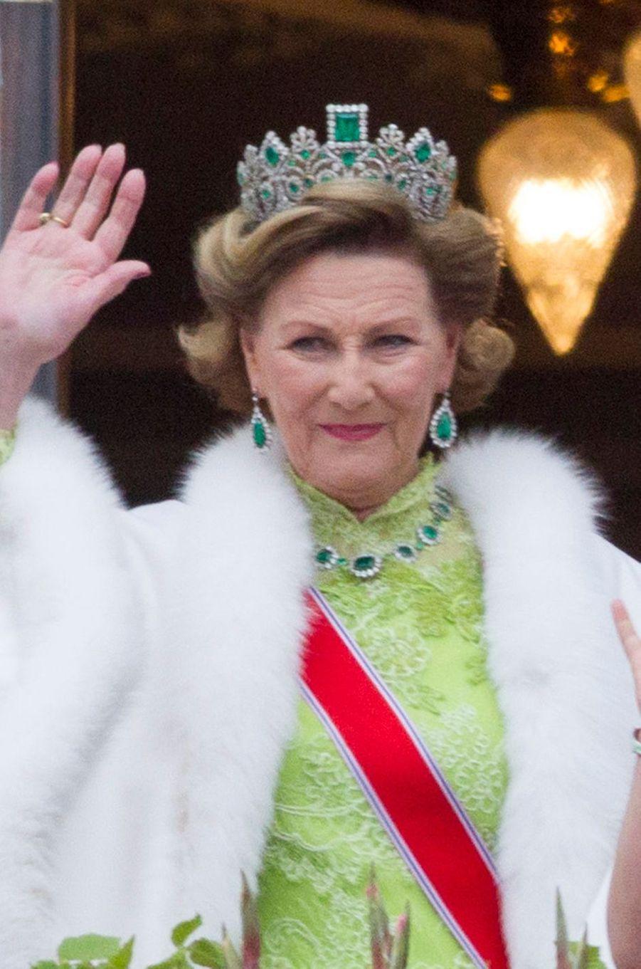 Le diadème de lareine Sonja de Norvège à Oslo le 9 mai 2017