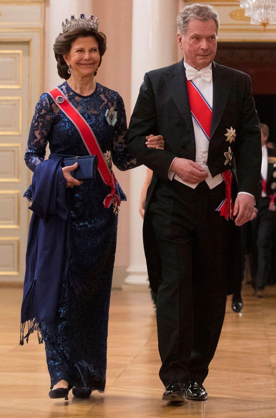 La reine Silvia de Suède à Oslo le 9 mai 2017