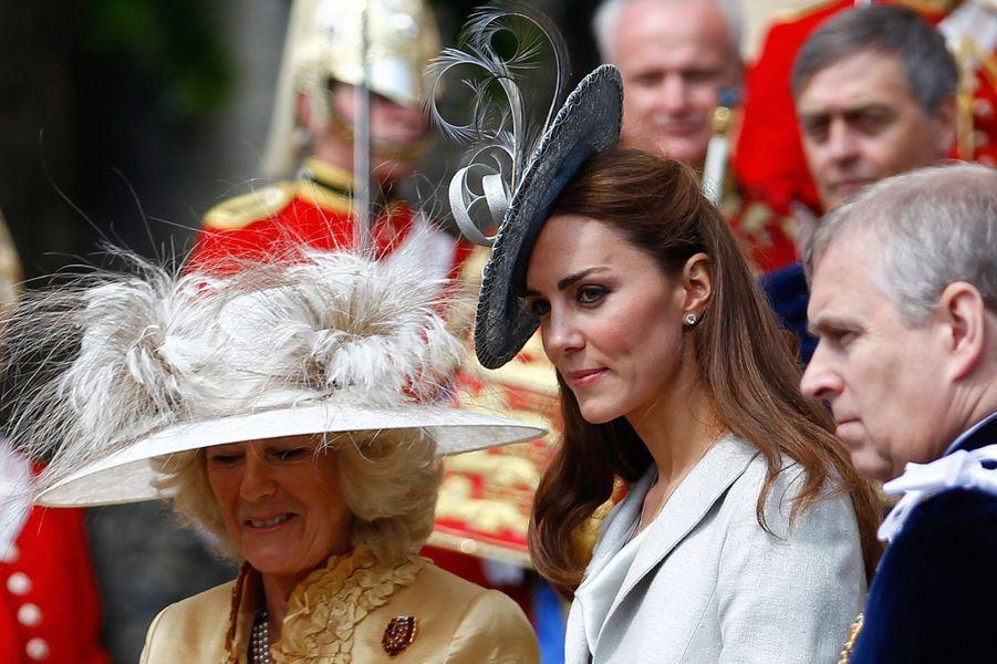 La duchesse de Cornouailles Camilla et la duchesse de Cambridge Kate, le 13 juin 2011