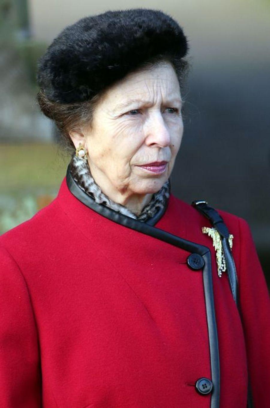 La princesse Anne à Sandringham, le 25 décembre 2014