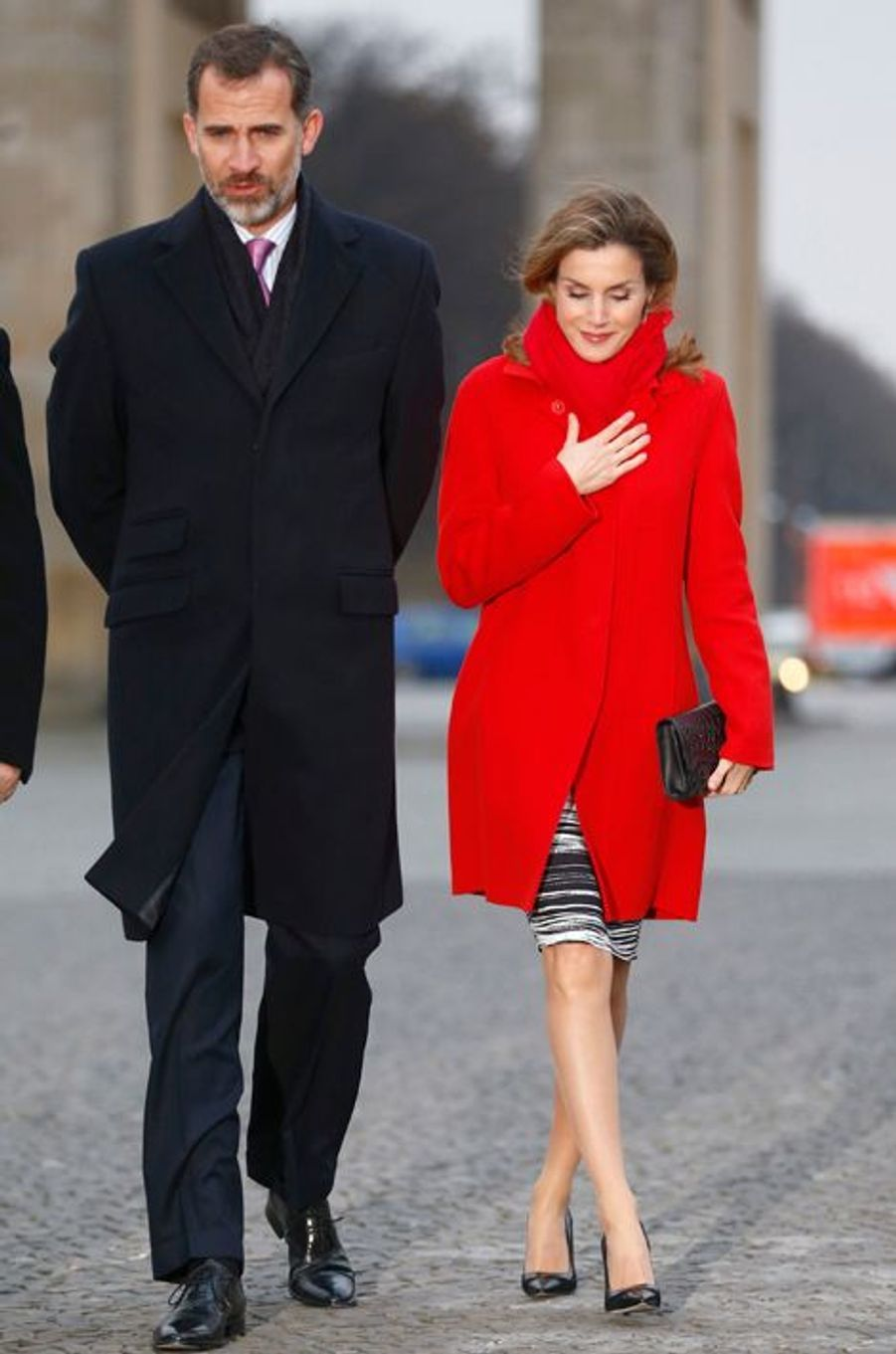 La reine Letizia d'Espagne, avec le roi Felipe VI, à Berlin, le 1er décembre 2014