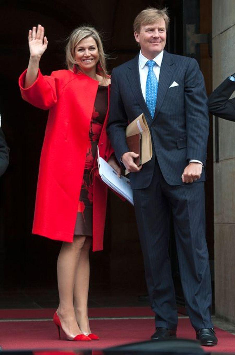 La reine Maxima des Pays-Bas, avec le roi Willem-Alexander, à Amsterdam, le 13 janvier 2015