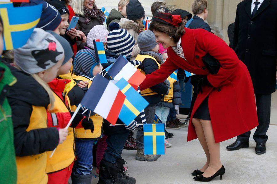 La reine Silvia de Suède à Paris, le 2 décembre 2014