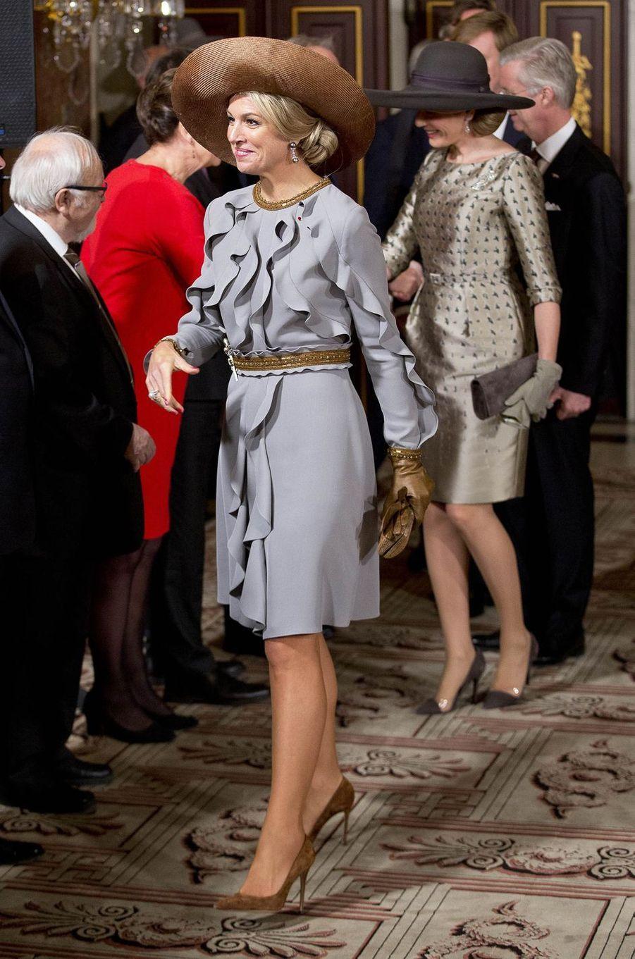Les reines Maxima des Pays-Bas etMathilde de Belgique à Amsterdam, le 28 novembre 2016