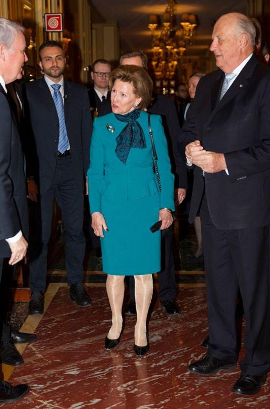 La reine Sonja de Norvège, le 8 avril 2016