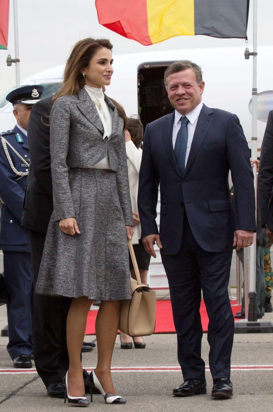La reine Rania de Jordanie à Bruxelles avec le roi Abdallah II, le 17 mai 2016