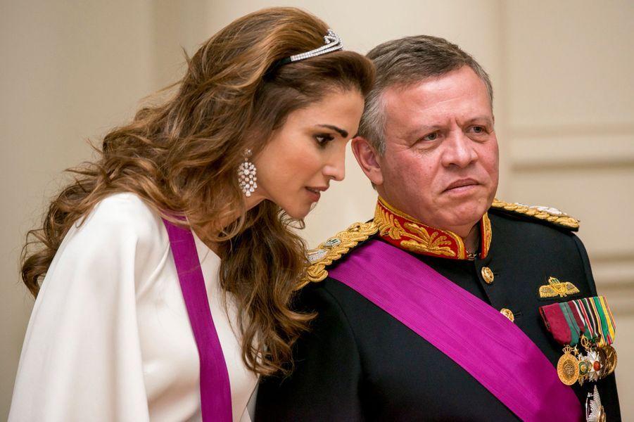 La reine Rania de Jordanie à Bruxelles avec le roi Abdallah II, le 18 mai 2016