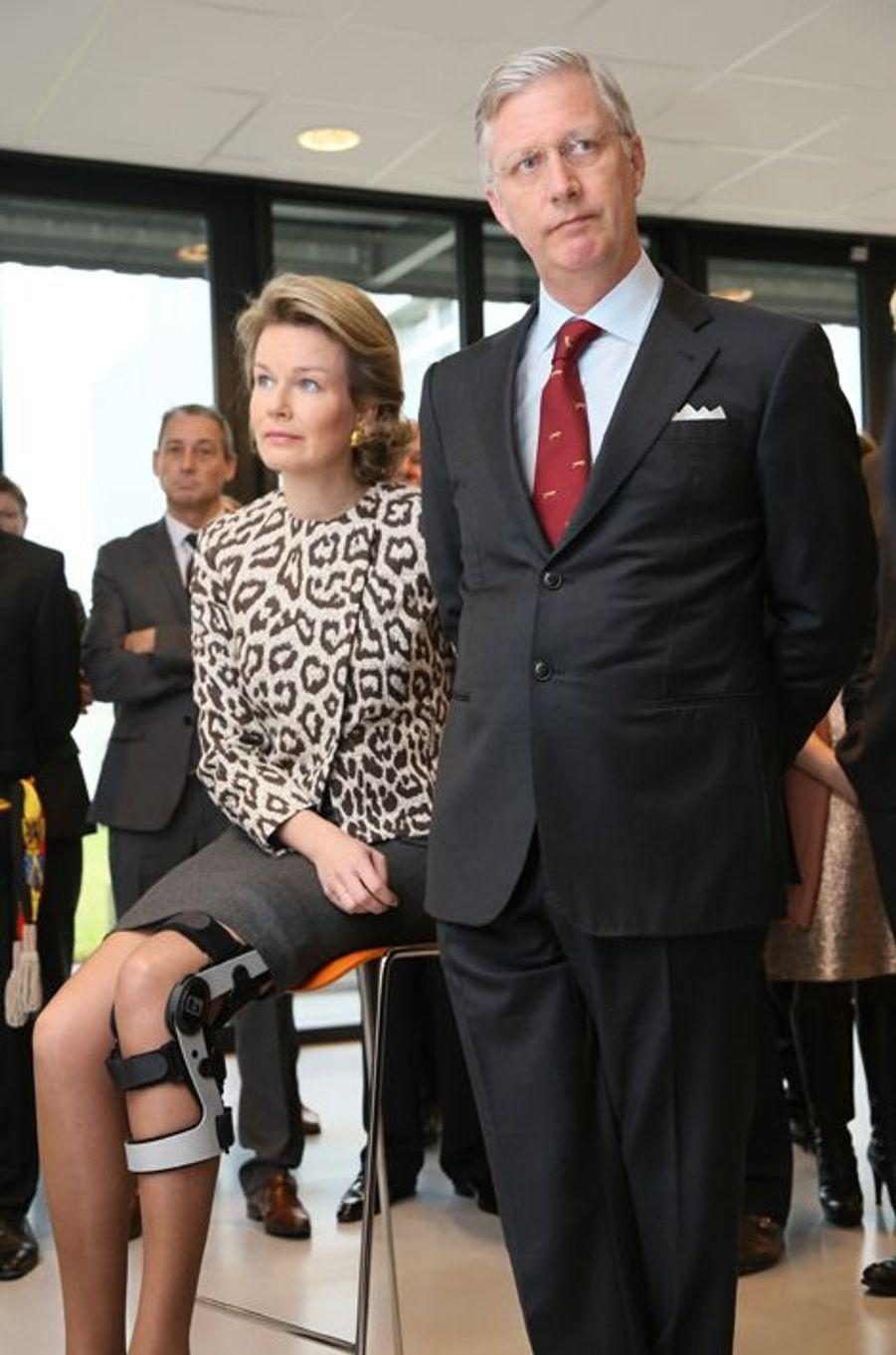 La reine Mathilde de Belgique, avec son époux le roi Philippe, le 26 février 2015