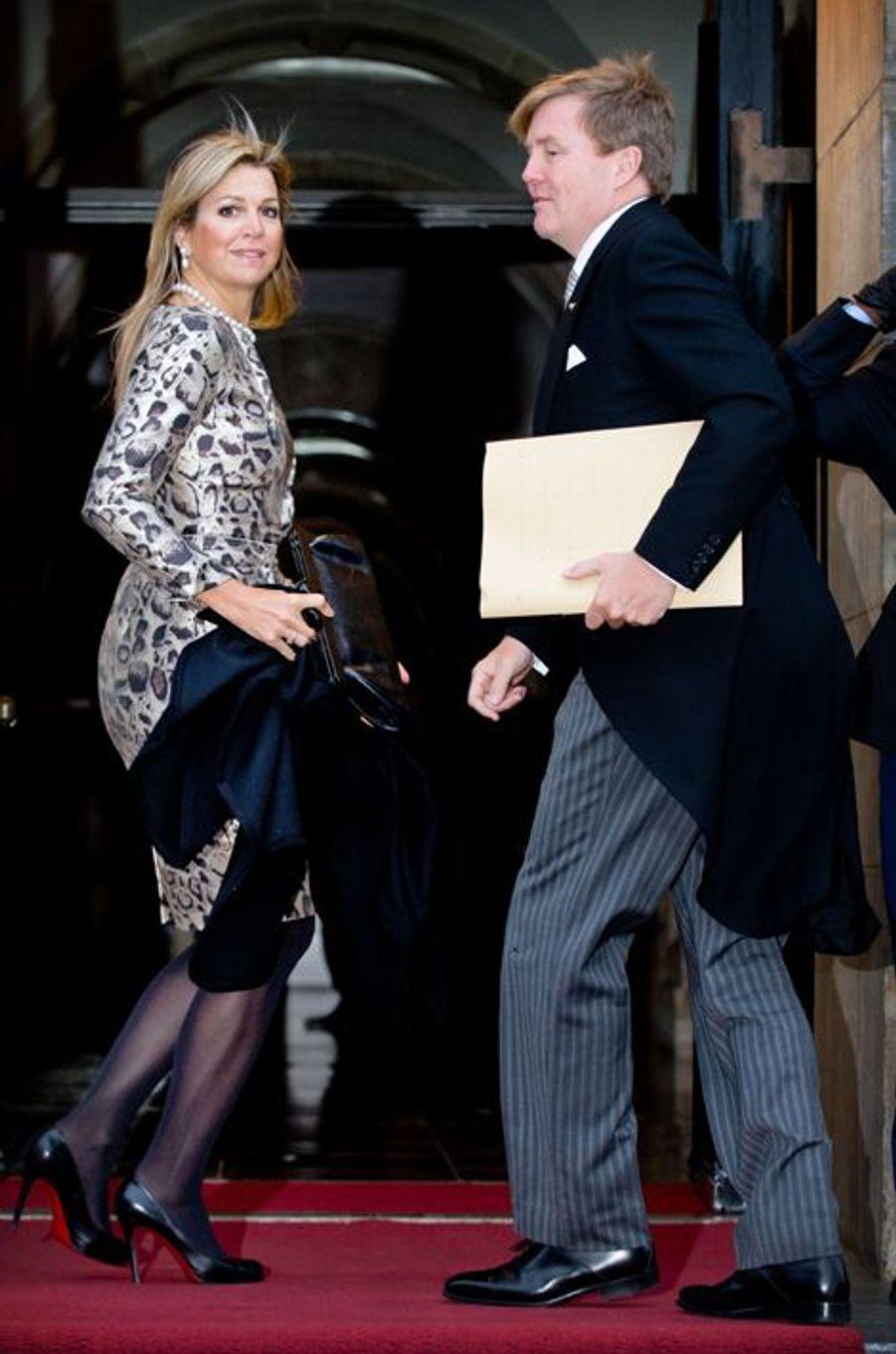 La reine Maxima des Pays-Bas, avec son époux le roi Willem-Alexander, le 14 janvier 2015