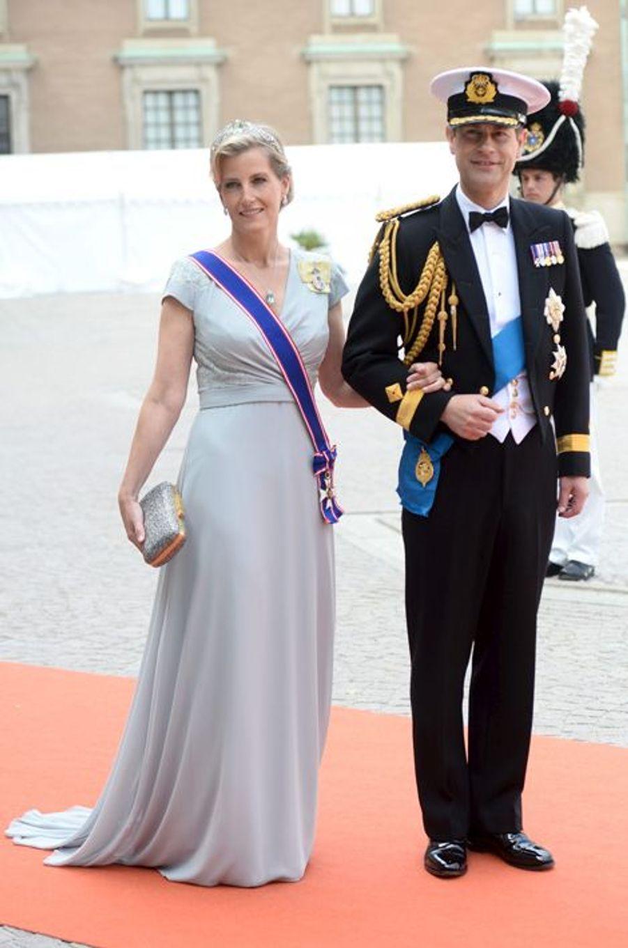 La comtesse Sophie de Wessex, avec son mari le prince Edward, à Stockholm le 13 juin 2015