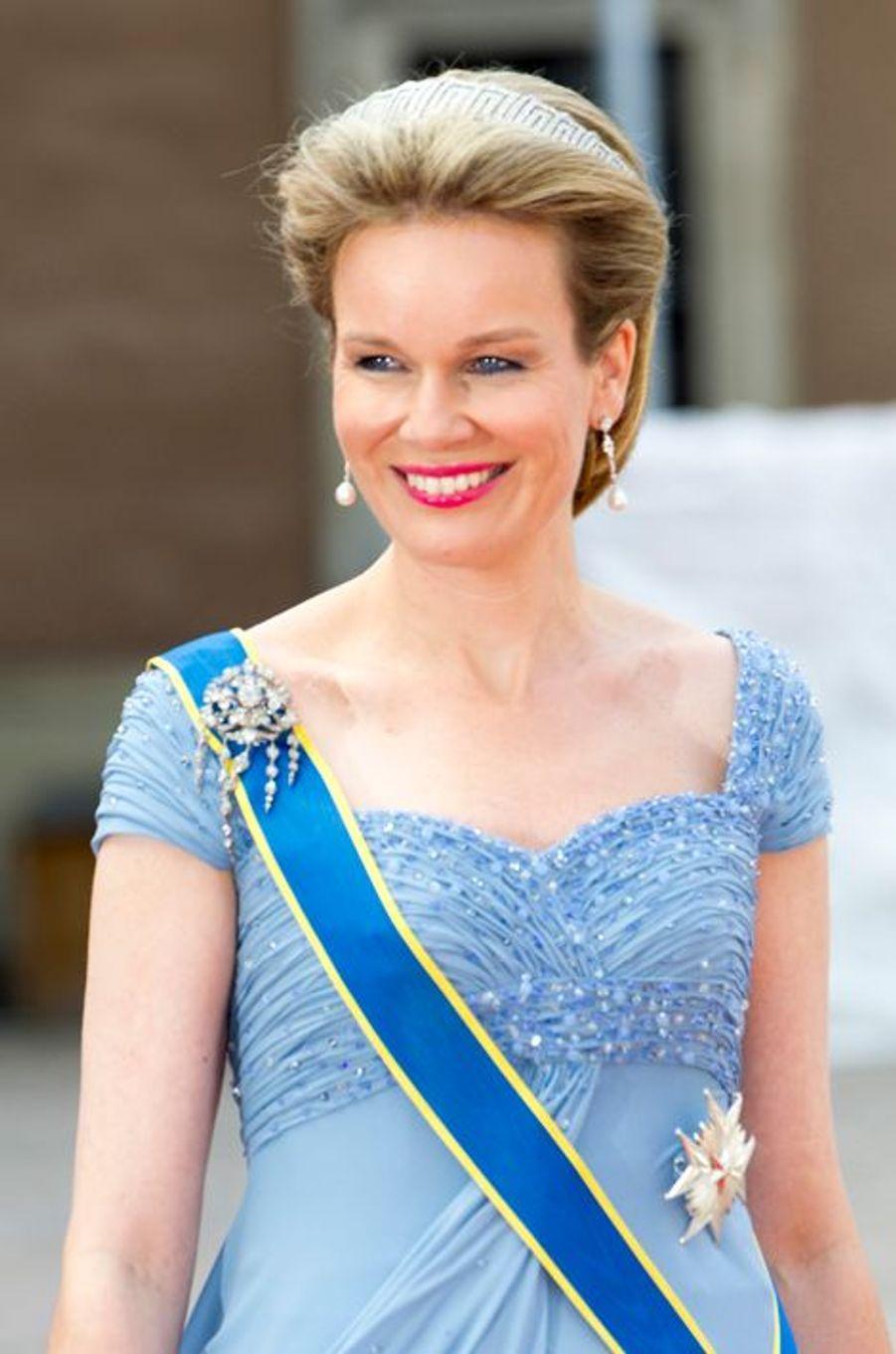 La reine Mathilde de Belgique à Stockholm, le 13 juin 2015