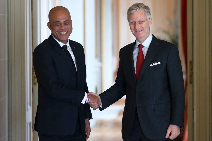 ... a reçu le président haïtien Michel Martelly auChâteau de Laeken à Bruxelles, mardi.