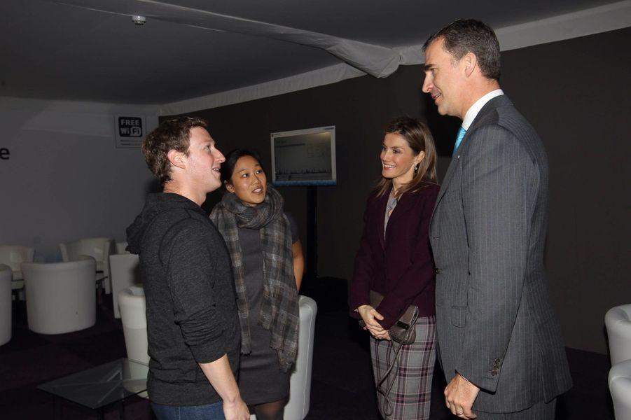 ... ont rencontré le co-fondateur de Facebook et son épouse Priscila Chan, à l'occasion du Mobile World Congress de Barcelona.