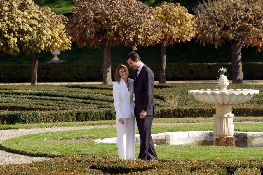 Le prince Felipe d'Espagne et Letizia Ortiz, le 6 novembre 2003