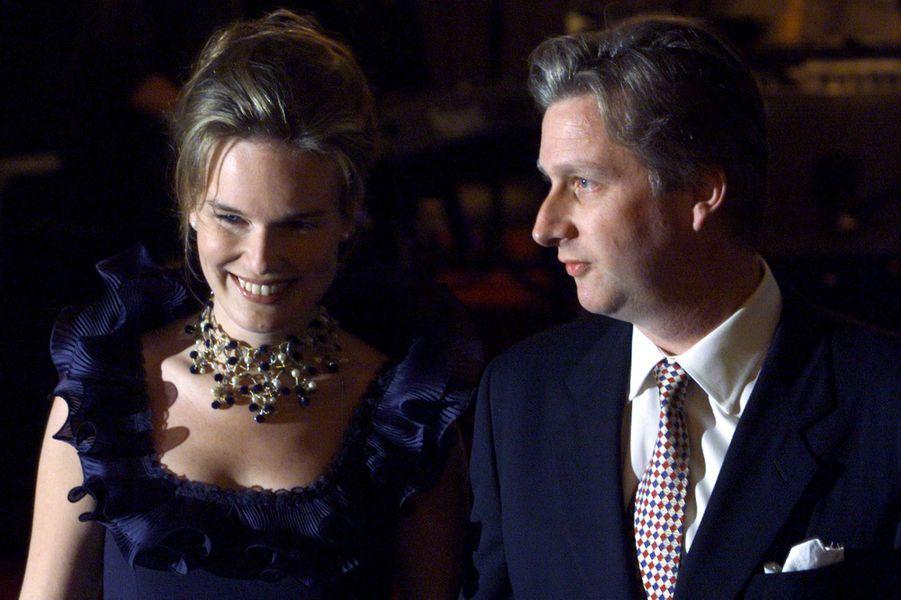 Le prince Philippe de Belgique et Mathilde d'Udekem d'Acoz, le 13 novembre 1999