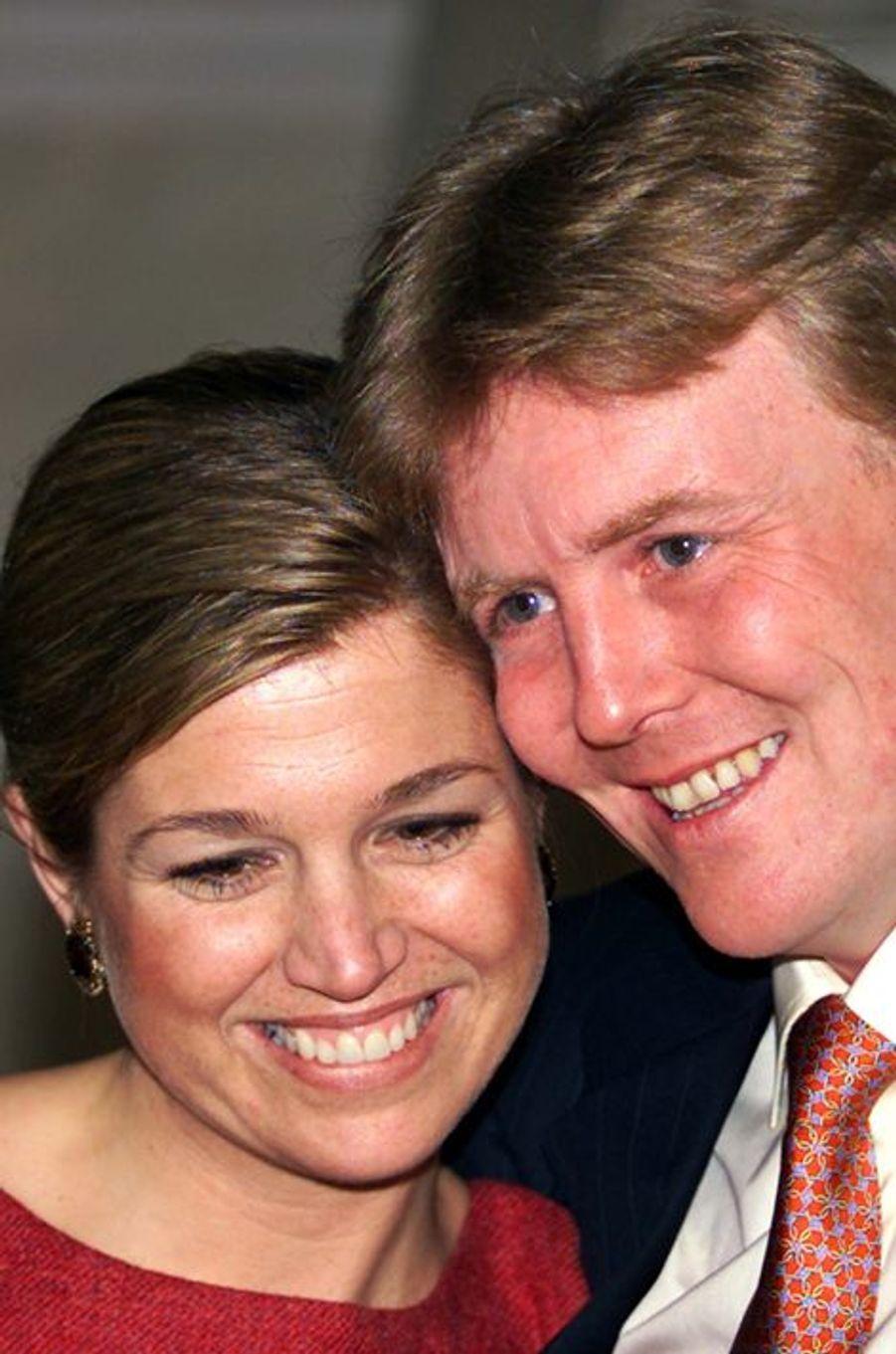 Le prince Willem-Alexander des Pays-Bas et Maxima Zorreguieta, le 30 mars 2001