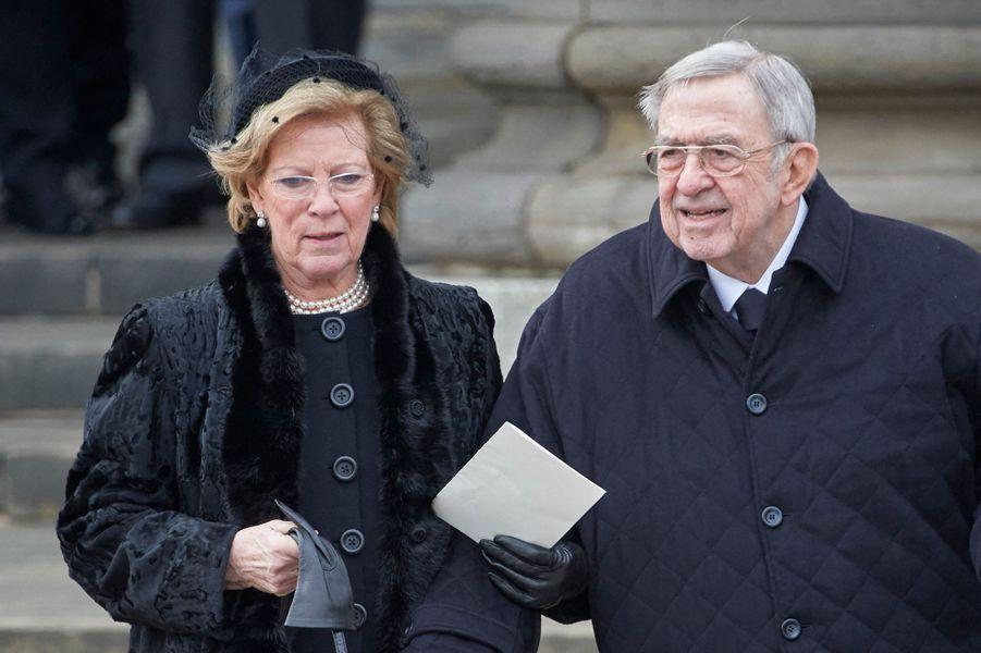 L'ancien roi des Hellènes Constantin II (ici avec sa femme l'ex-reine Anne-Marie, le 2 février 2018) va fêter ses 80 ans en 2020