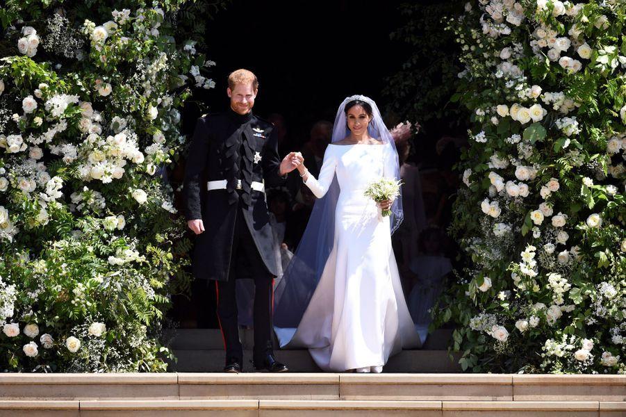Le prince Harry et de Meghan Markle, lors de leur mariage le 19 mai 2018