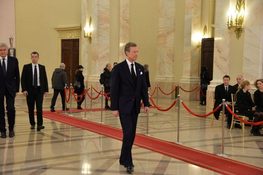 Le grand-duc Henri de Luxembourg aux obsèques de l'ex-roi Michel de Roumanie à Bucarest, le 16 décembre 2017