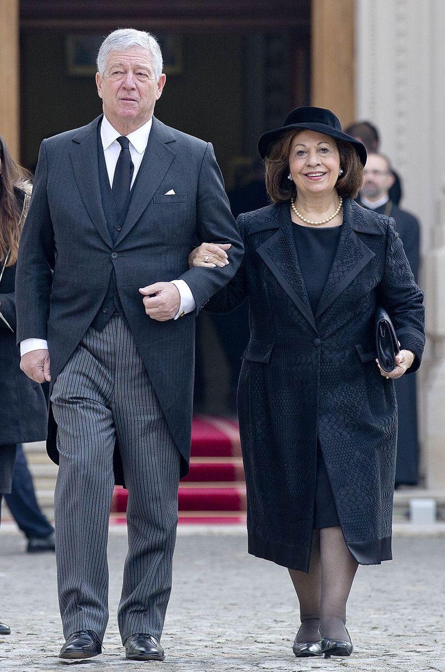 Le prince Alexandre de Serbie et sa femme la princesse Catherine aux obsèques de l'ex-roi Michel de Roumanie à Bucarest, le 16 décembre 2017