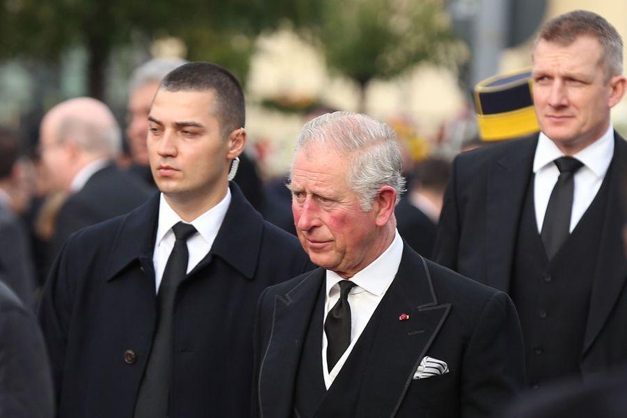 Le prince Charles d'Angleterre aux obsèques de l'ex-roi Michel de Roumanie à Bucarest, le 16 décembre 2017