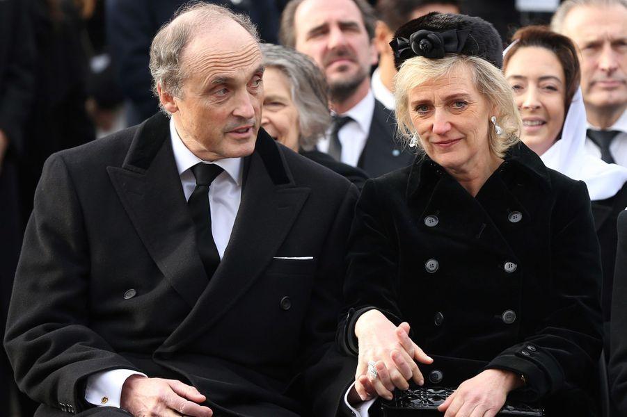 La princesse Astrid de Belgique avec son mari le prince Lorenz aux obsèques de l'ex-roi Michel de Roumanie à Bucarest, le 16 décembre 2017