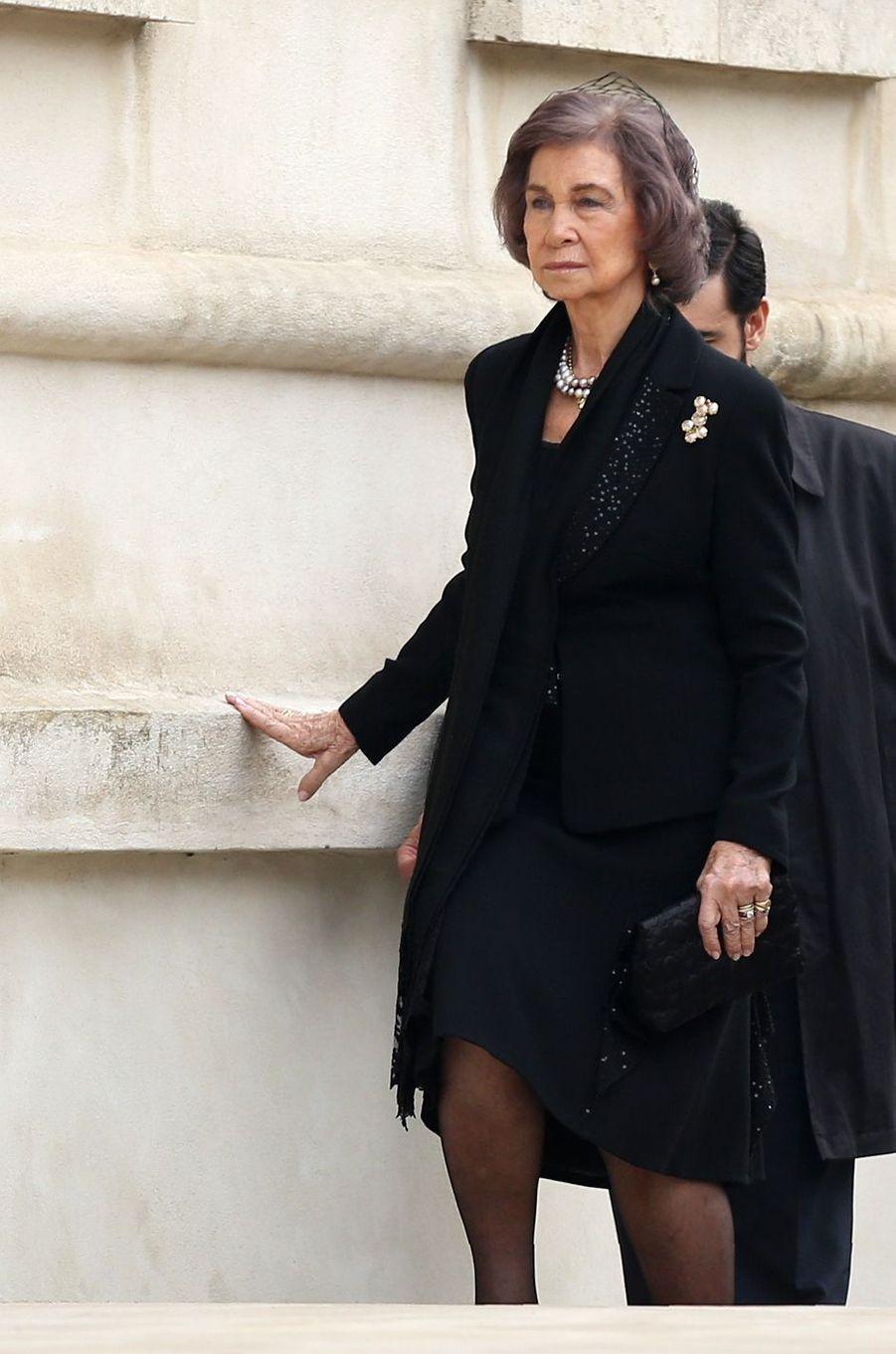 L'ex-reine Sofia d'Espagne aux obsèques de l'ex-roi Michel de Roumanie à Bucarest, le 16 décembre 2017