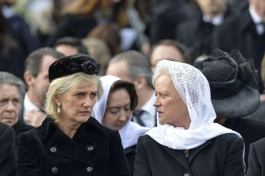 Les princesses Astrid de Belgique et Muna de Jordanie aux obsèques de l'ex-roi Michel de Roumanie à Bucarest, le 16 décembre 2017