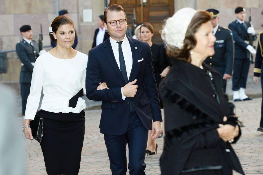 La reine Silvia, la princesse Victoria et le prince Daniel à la rentrée du Parlement de Suède, le 30 septembre 2014