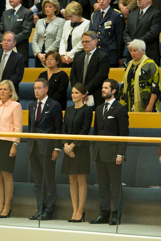 Le prince Carl Philip et Sofia Hellquist à la rentrée du Parlement de Suède, le 30 septembre 2014