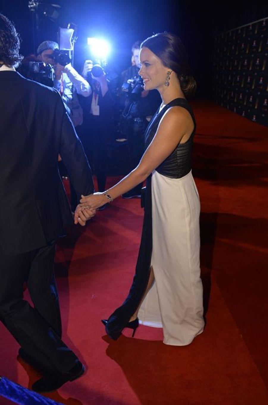 Sofia Hellqvist et le prince Carl Philip de Suède au Gala des sports à Stockholm, le 19 janvier 2015