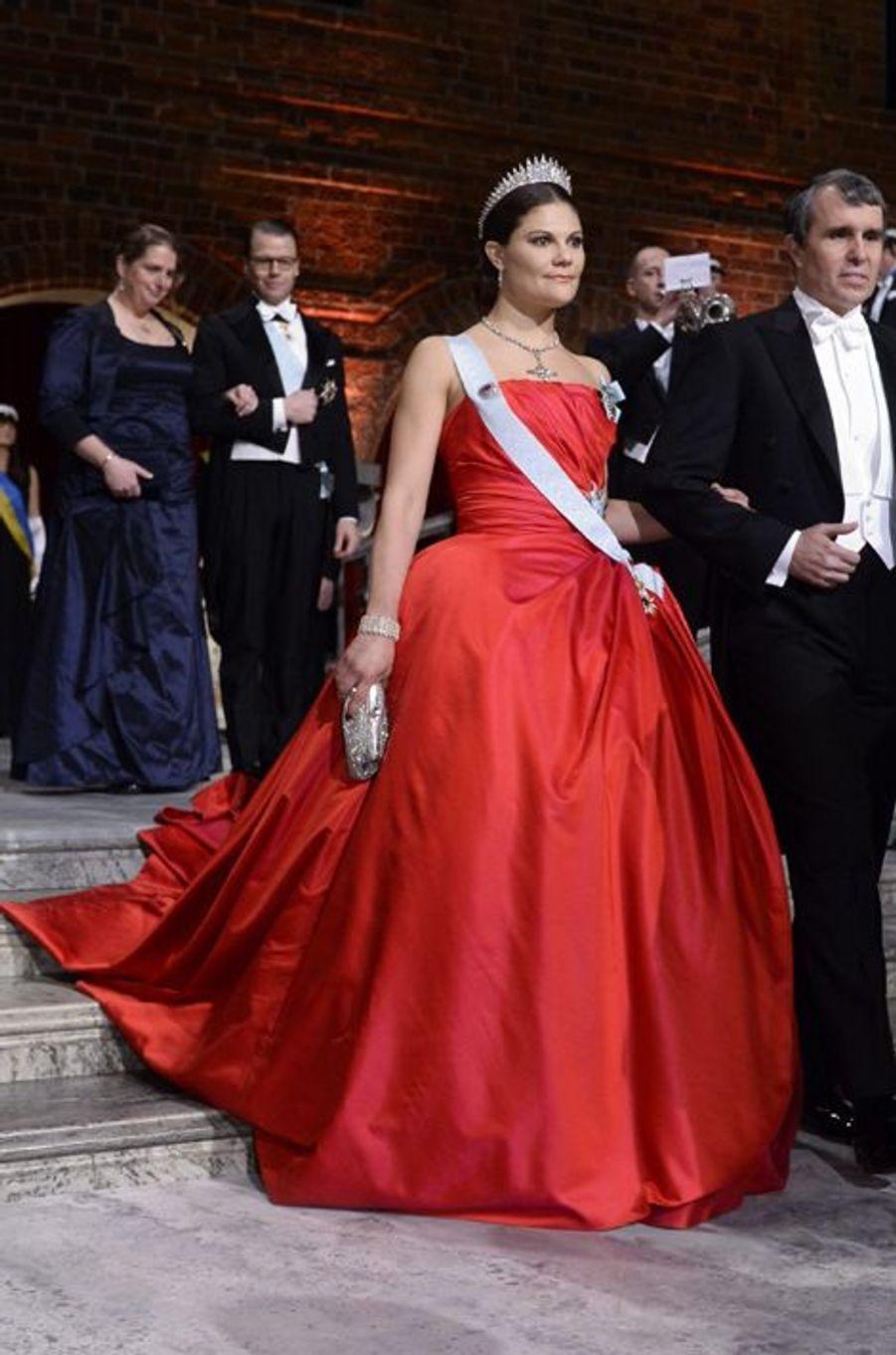 La princesse Victoria de Suède au banquet des prix Nobel à Stockholm, le 10 décembre 2014